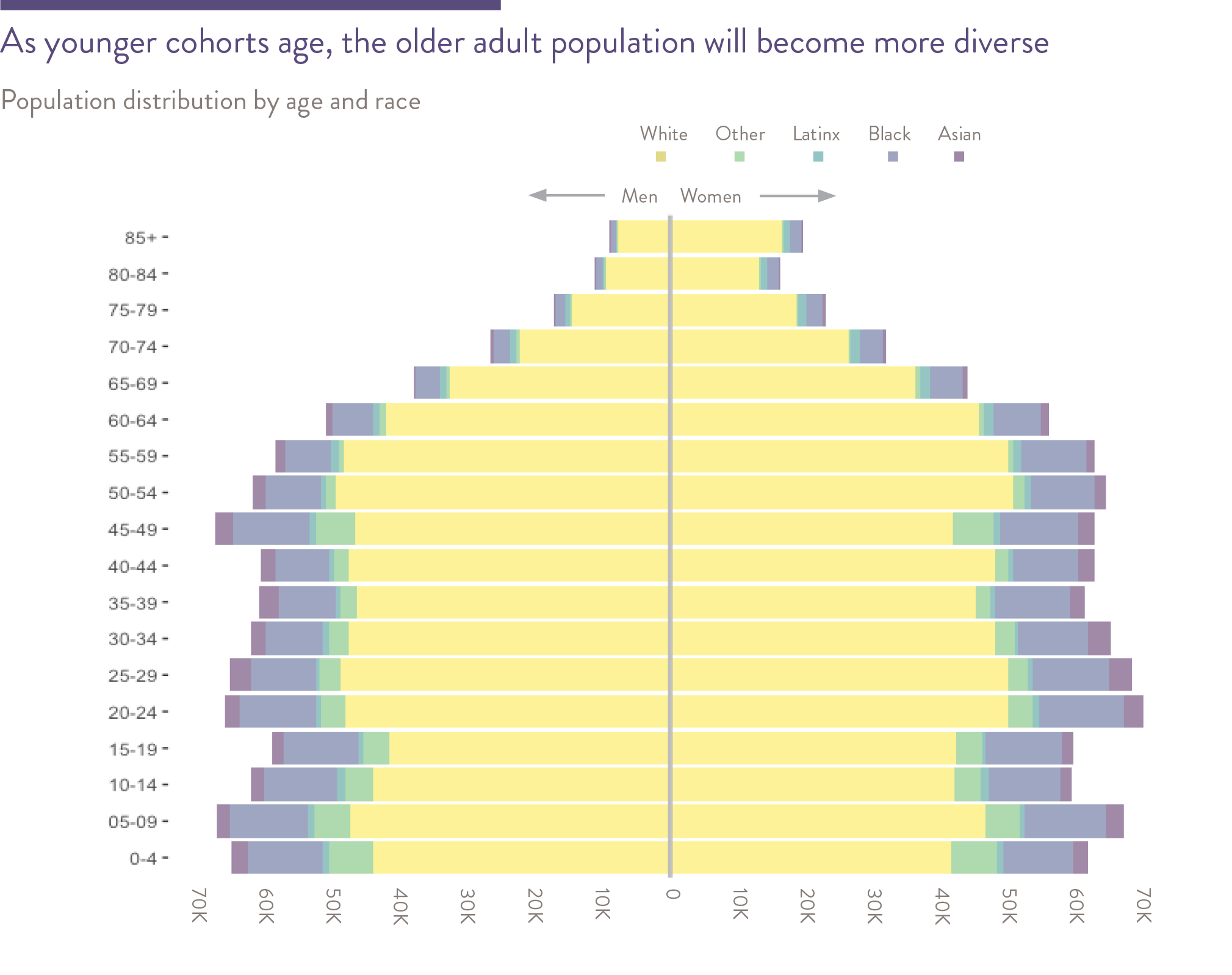 As younger cohorts age, the older adult population will become more diverse